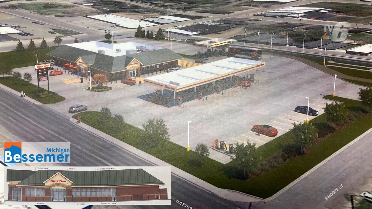Kwik Trip renderings for a proposed location on Lead Street/US-2 in Bessemer, Mich.