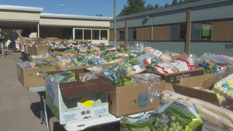 Silver Creek provides free food to local families every month with a Feeding America food...