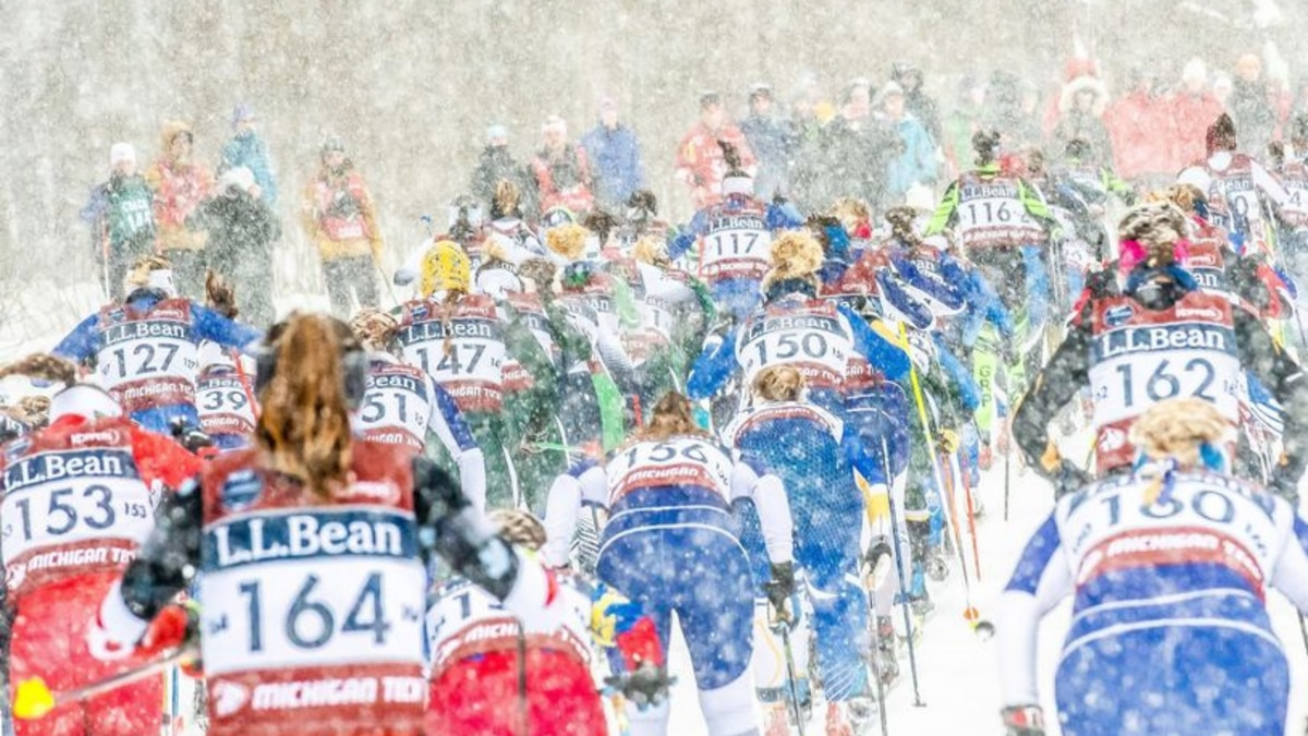 Photo of a U.S. Cross Country Sky Championships event at Michigan Tech.