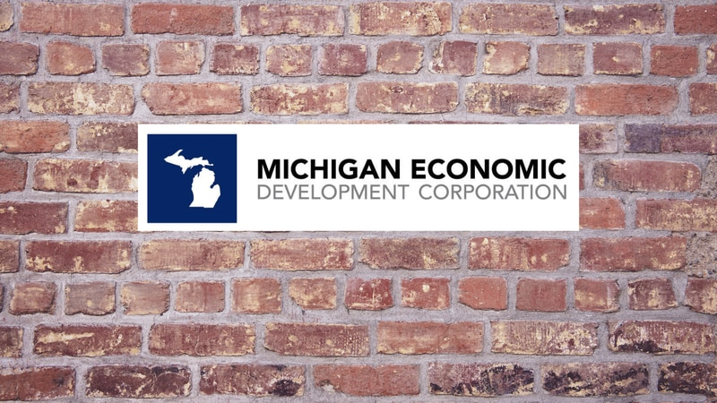 Michigan Economic Development Corporation logo on brick background.
