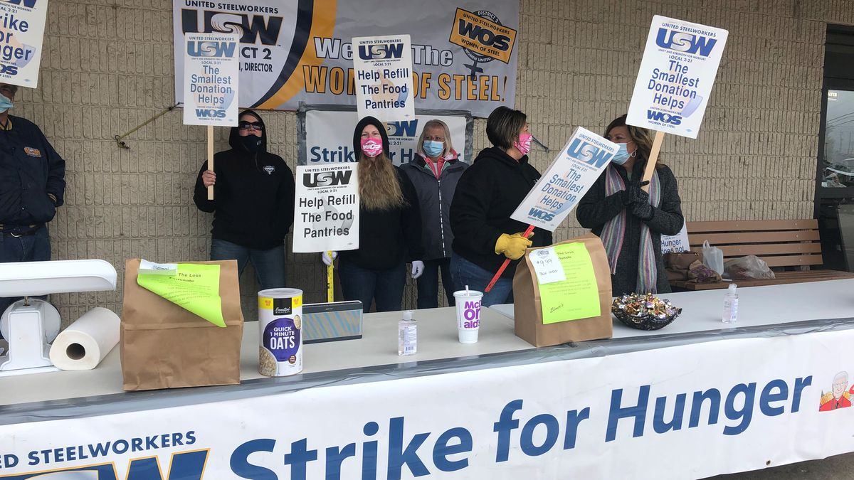 Women of Steel Local 21 outside Elmer's County Market collecting donations for the Strike for...