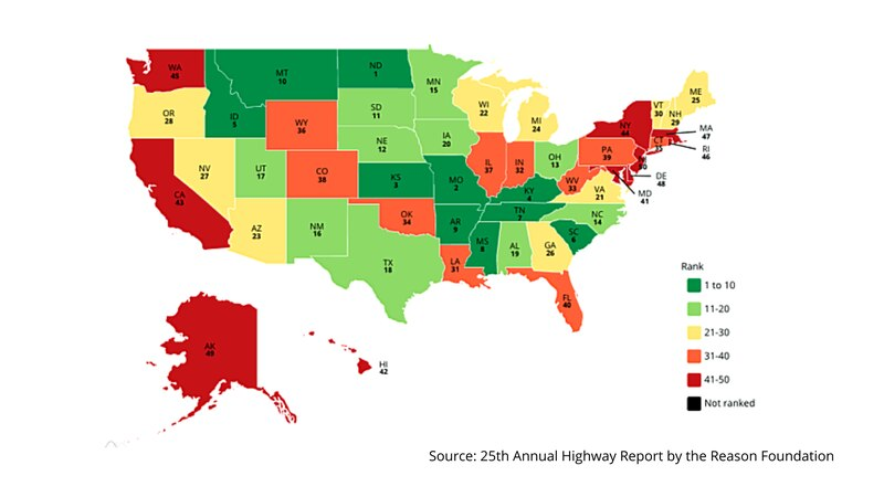 Reason Foundation's 15th Annual Highway Report U.S. map rankings.