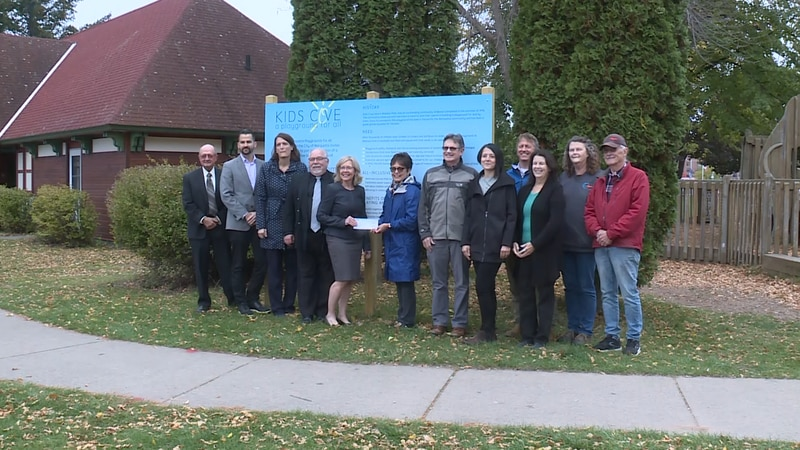 Check presentation at the site of what will be Kids Cove Playground