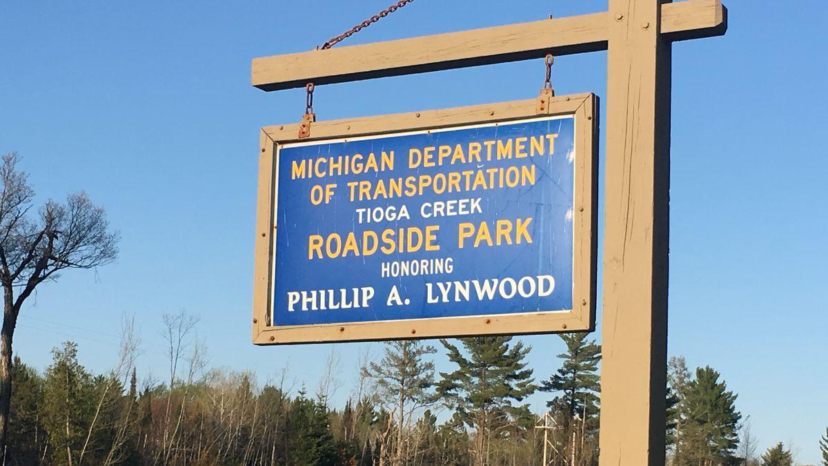 MDOT's Tioga Creek Roadside Park honoring Phillip A. Lynwood in Baraga County. (WLUC Photo)
