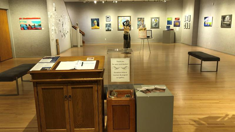 Inside the gallery at The Bonifas Art Center.