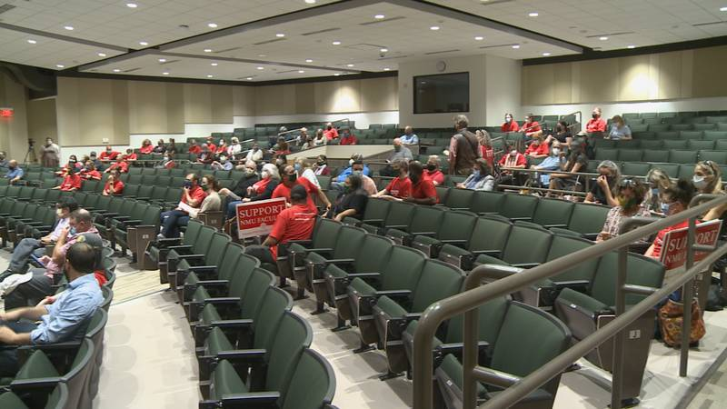 Union members gather in Jamrich Hall on Thursday afternoon.