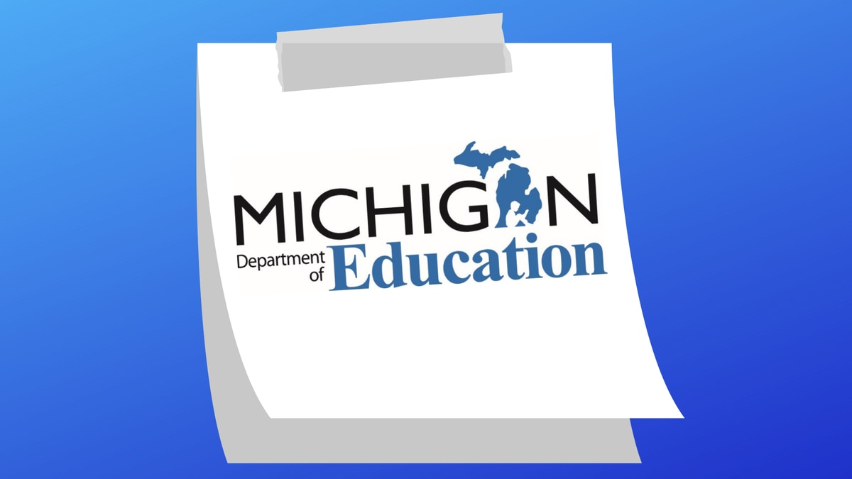 Michigan Department of Education logo on a sticky note.
