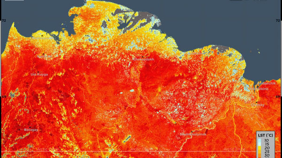 Siberia is experiencing its second heatwave of 2020.(Credit: European Union/Copernicus Sentinel-3 imagery)