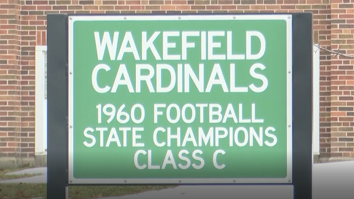 A sign outside of Wakefield-Marenisco school, commemorating the 1960 Cardinals football team.