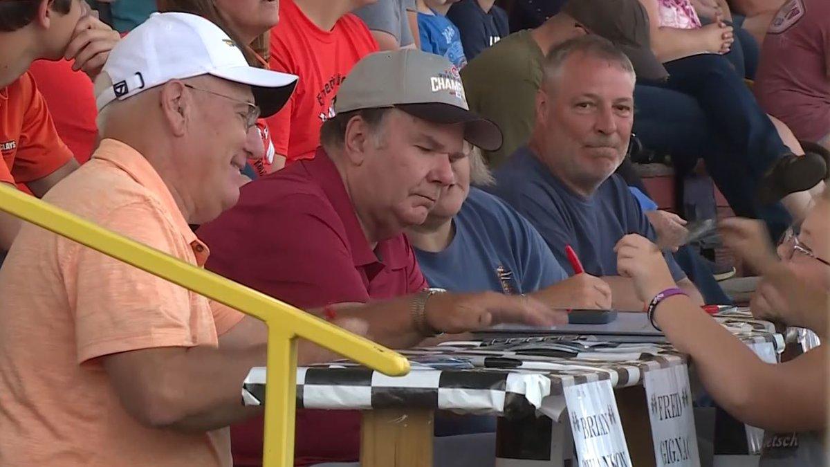 Norway Speedway Hall of Fame inductees, Fred Gignac (left, orange shirt) and John Koehler...