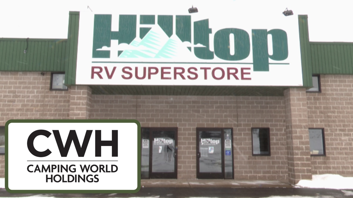 Hilltop RV Superstore location in Ishpeming with the CWH-Camping World Holdings logo.