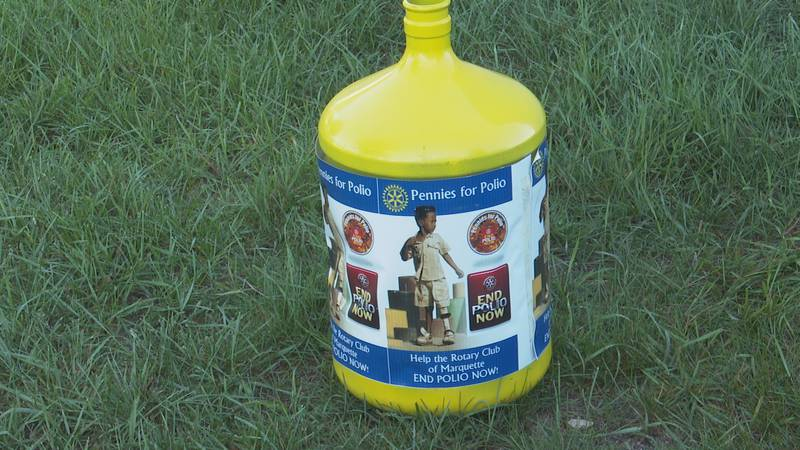 A Pennies for Polio jug