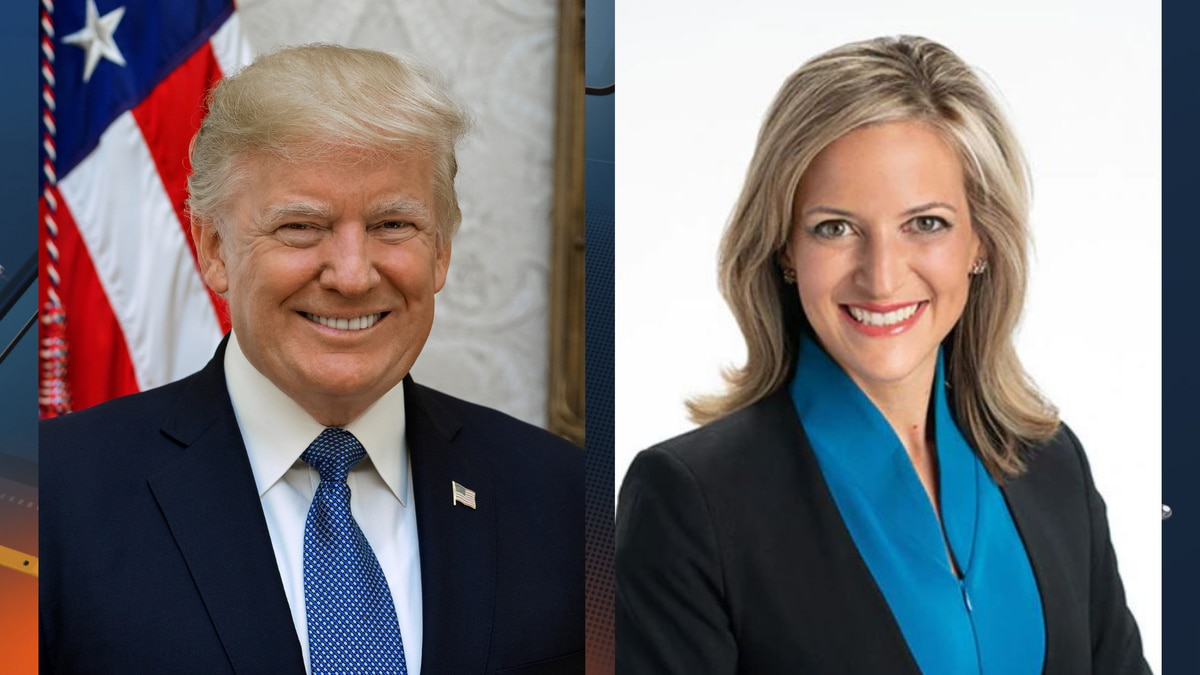 Images of President Donald Trump, left, and Michigan Secretary of State Jocelyn Benson.
