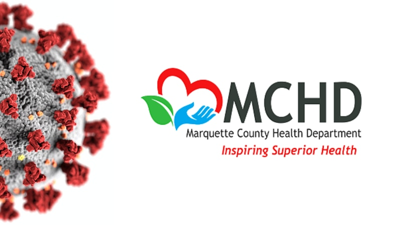 Marquette County Health Department logo with CDC coronavirus graphic.