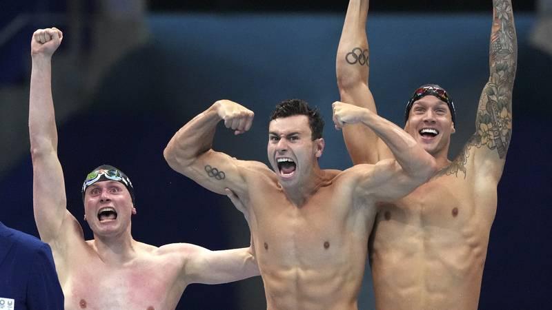 United States men's 4x100m freestyle relay team Bowen Beck, Blake Pieroni, and Caeleb Dressel...