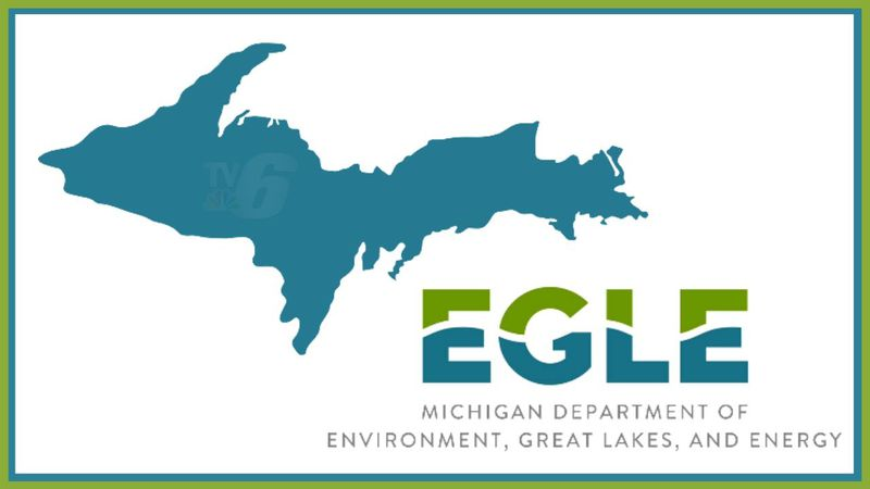 Michigan Department of Environment, Great Lakes, and Energy (EGLE) logo on WLUC created image.
