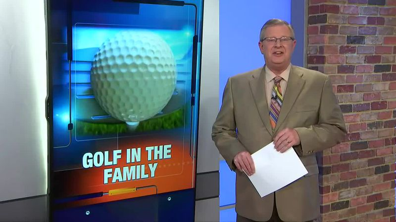 TV6's Mike Ludlum introducing his story on golf in the Nelson family.