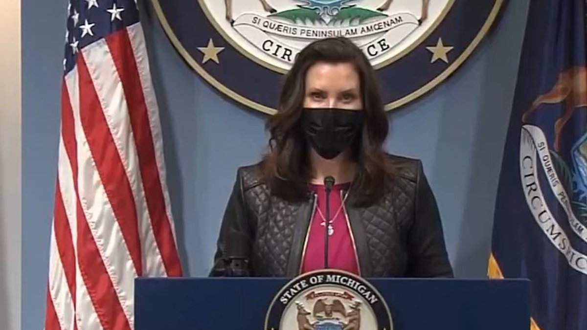 FILE. Gov. Gretchen Whitmer during a March 2021 press conference.
