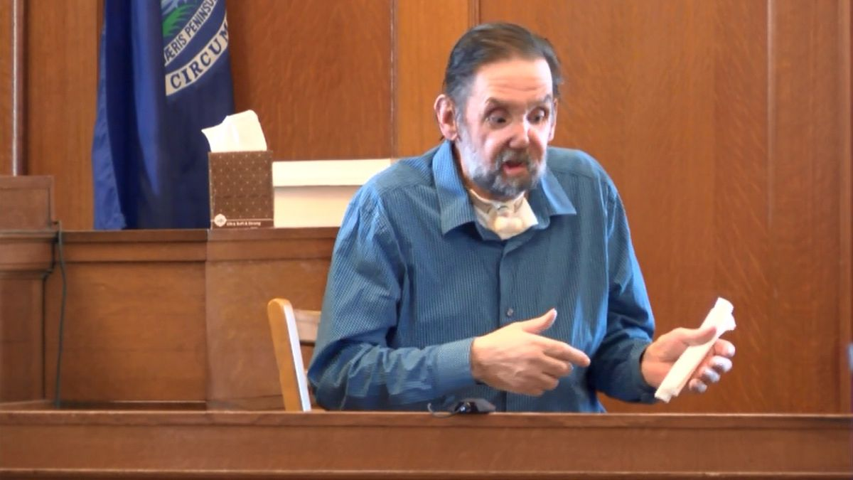 Alfred Saario takes the stand in his murder trial, Aug. 17, 2017 (WLUC image).