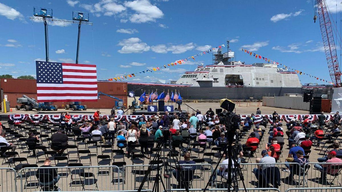 The set-up at Fincantieri Marinette Marine ahead of President Trump's visit on Thursday, June 25, 2020. (WLUC Photo)