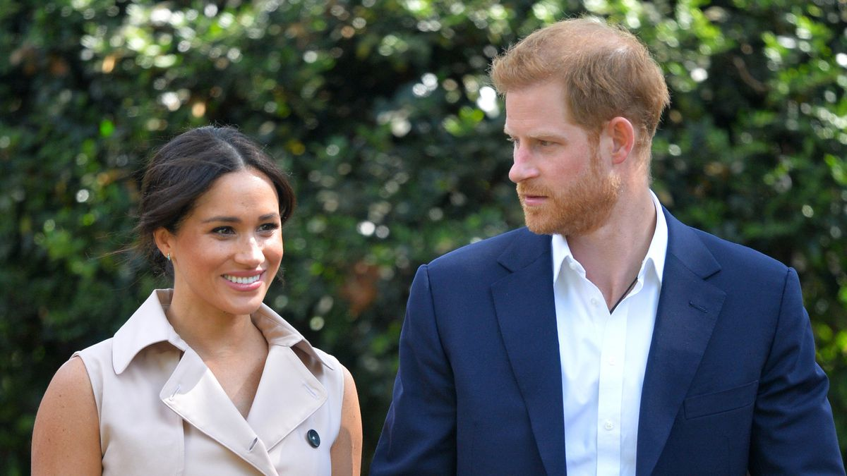 FILE - In this Oct. 2, 2019 file photo, Britain's Prince Harry and Meghan Markle appear at the...