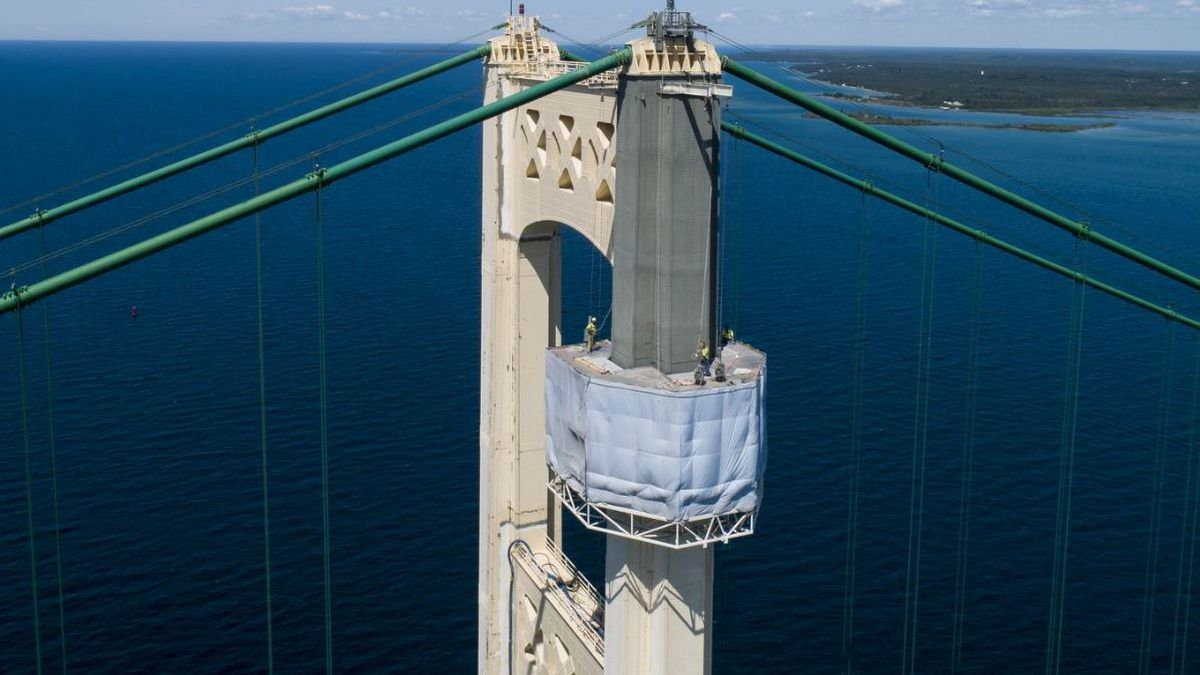 Mackinac Bridge painting platform, as seen in 2019. (MDOT File Photo)