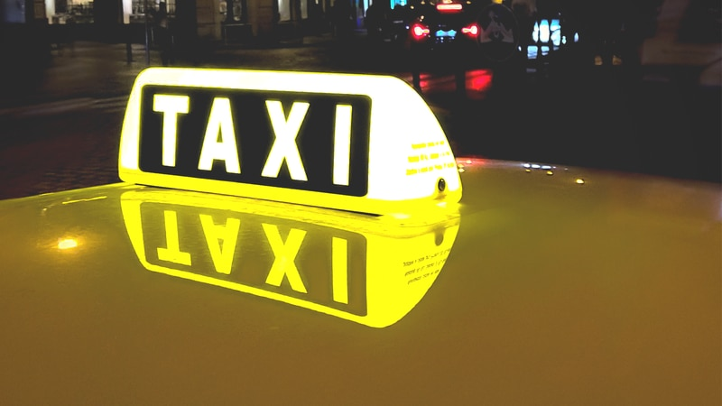 Generic taxi cab lighted sign.