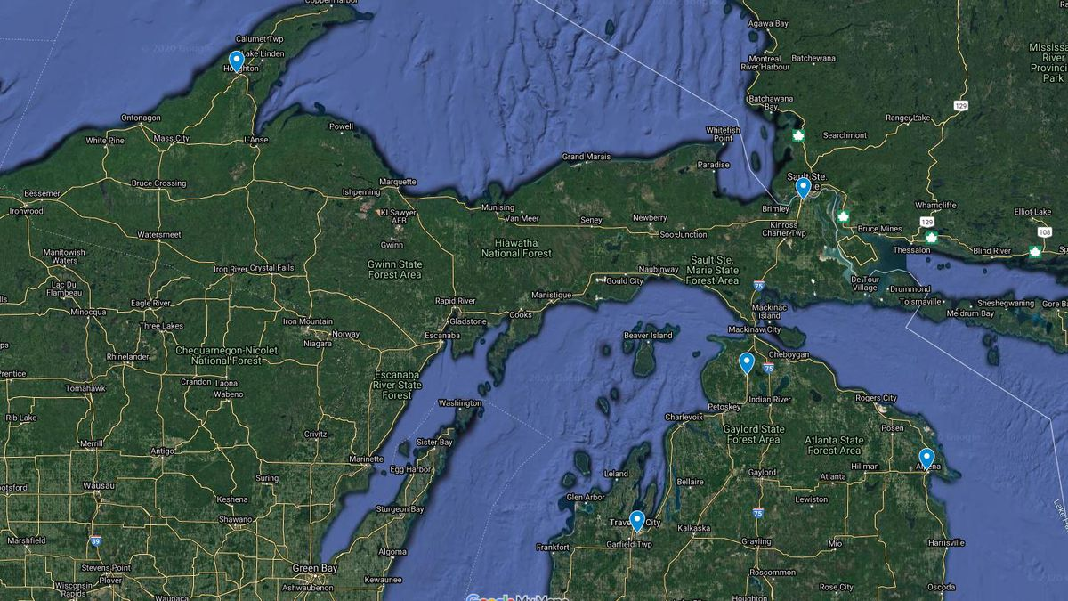 In Upper Michigan, Houghton County Memorial Airport in Hancock and  Chippewa County International Airport in Sault Ste. Marie will receive $544,000 and $3,354,542, respectively. (FAA Google Maps Image)