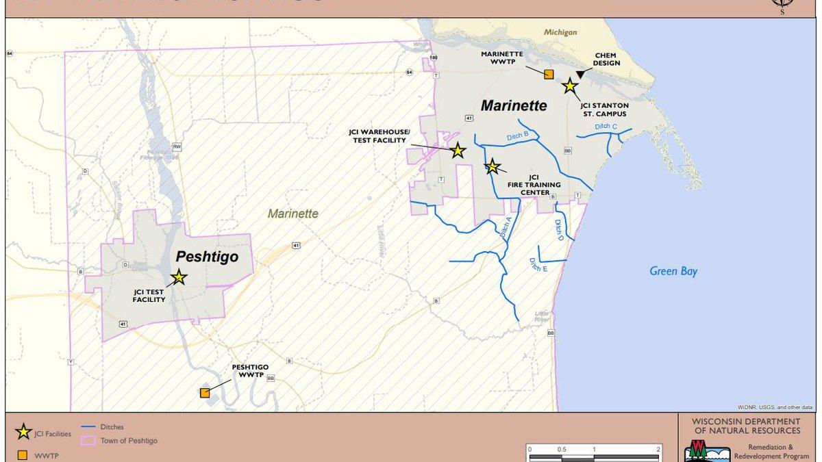 Marinette and Peshtigo PFAS contamination map. (Wisconsin DNR Map)