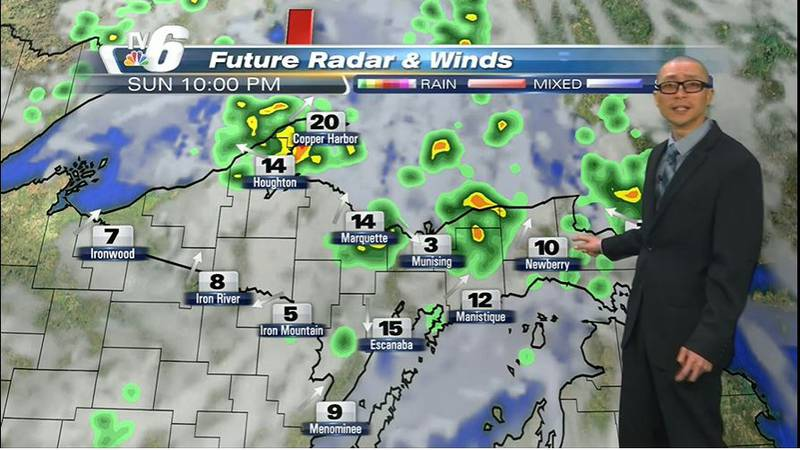 Clouds increase Sunday afternoon with a chance of showers and t-storms developing west.