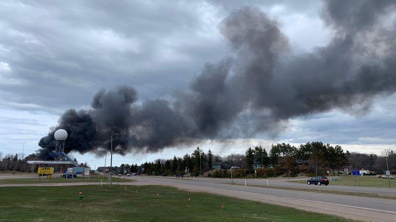 Smoke can be seen on US-41 in Negaunee Township from a fire at Superior Auto Parts, April 29,...