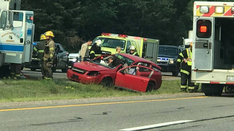 Rescue crews respond to a crash on US-41 in Negaunee Township, Aug. 3, 2021.