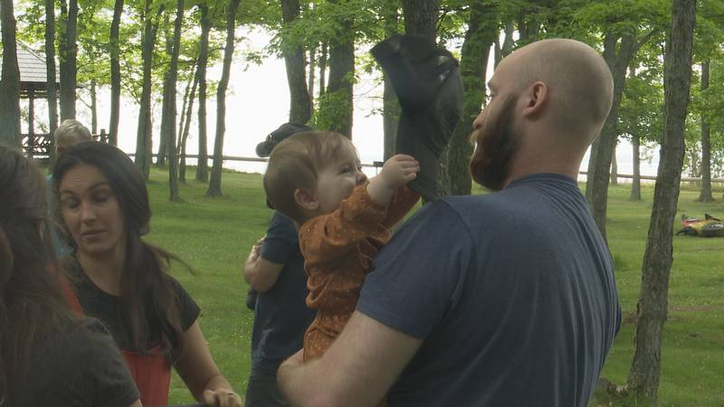 The event raises awareness of postpartum depression experienced by new moms after giving birth.