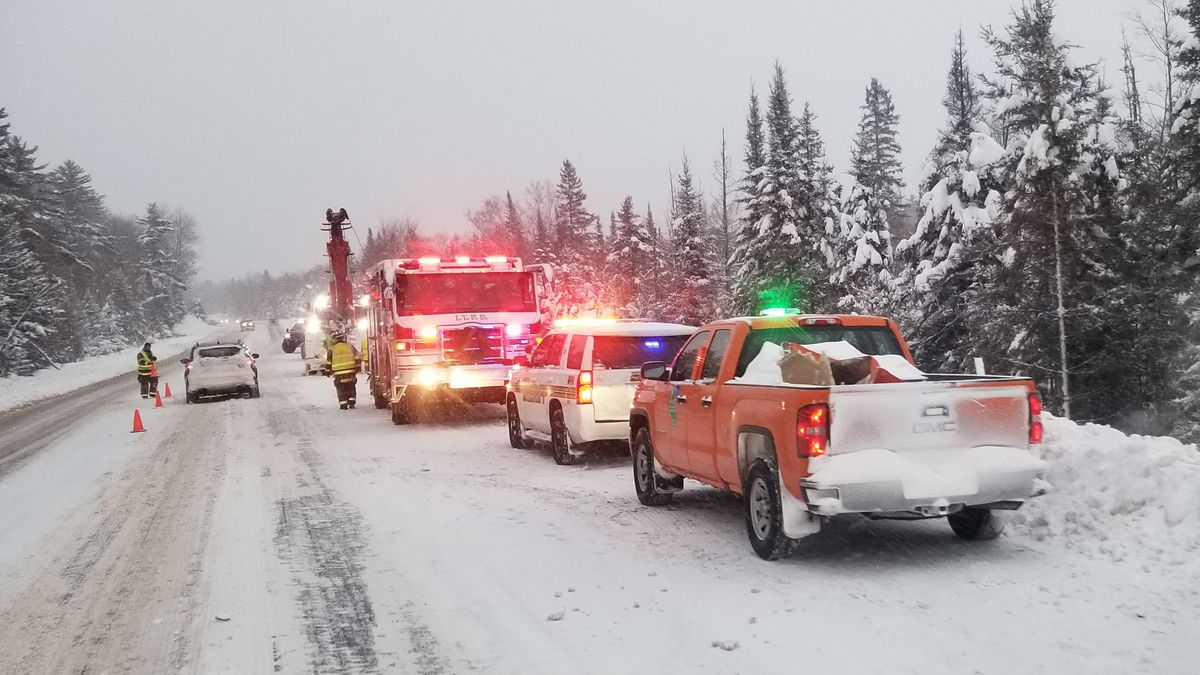 Crews respond to a Marquette County plow rollover in Ely Township, Dec. 12, 2019. (Courtesy: Matt Dunham)