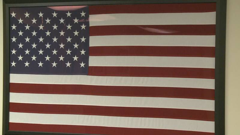 American Flag on display at the Marquette County Veterans Services office in Ishpeming.