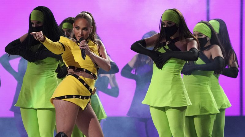 "Jennifer Lopez performs at ""Vax Live: The Concert to Reunite the World"" on Sunday, May 2, 2021,..."