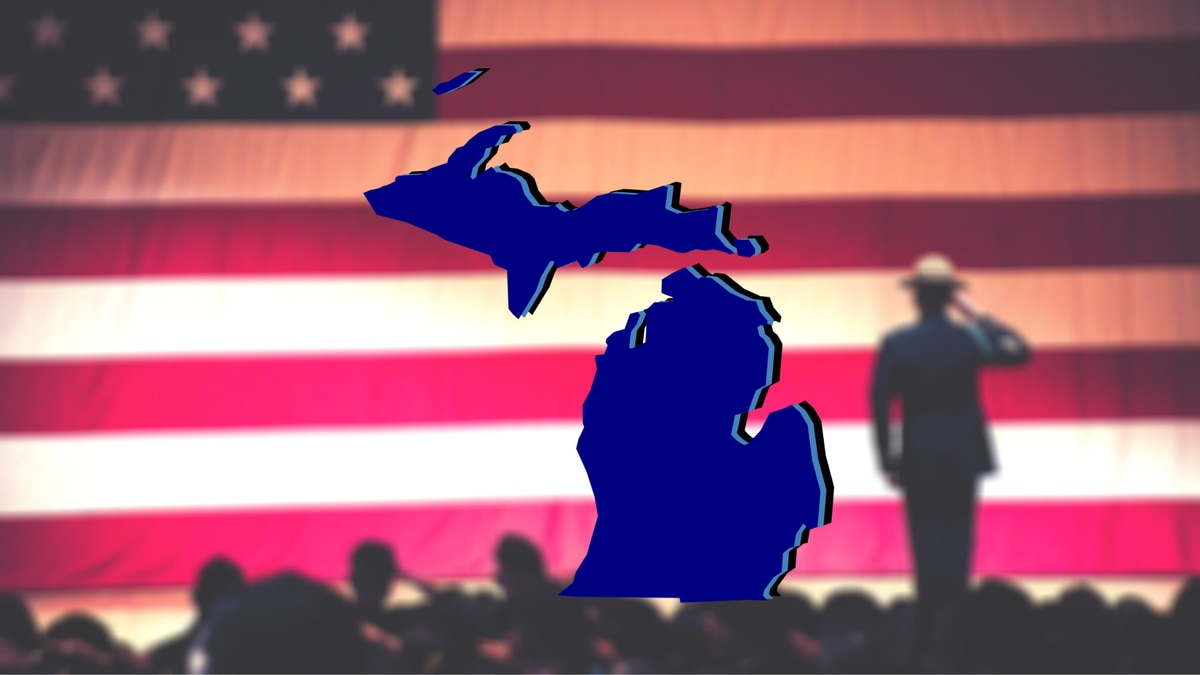 Michigan Map and a soldier saluting the U.S. flag.