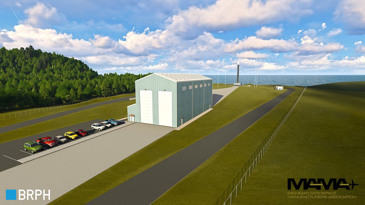 Renderings of potential vertical launch spaceport.
