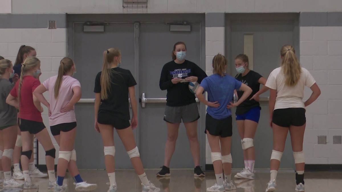 The Calumet volleyball team practices for the first time in over a month.