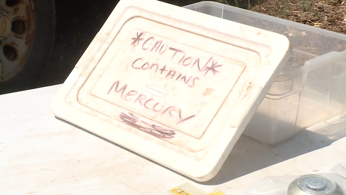 A table set aside for items containing mercury at the MCSWMA hazardous collection site.