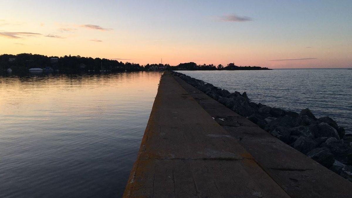 Marquette Lower Harbor breakwater in summer. (WLUC photo)
