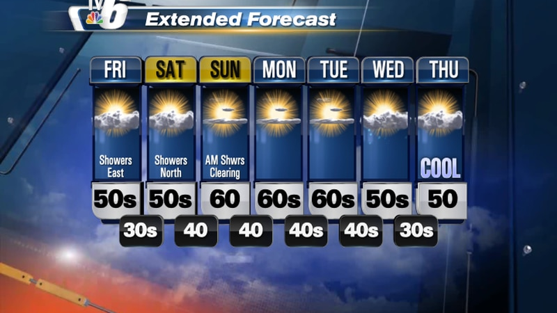 Mostly sunny start to Friday then increasing clouds east, with highs in the 50s to lower 60s...