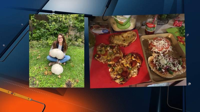 NMU student uses giant mushroom as pizza dough