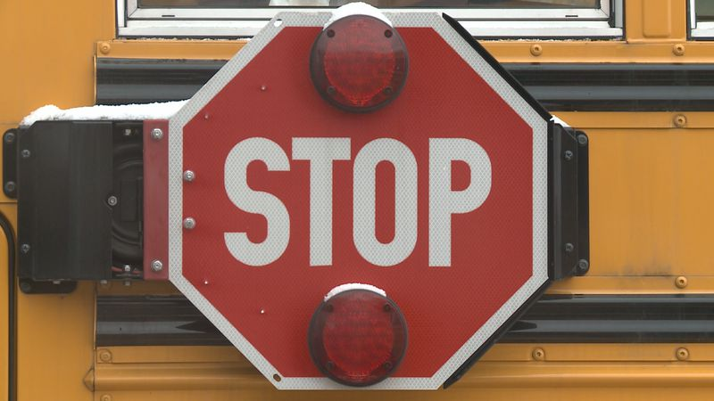 The stop sign will come out and the lights will turn on when a school bus is stopped.