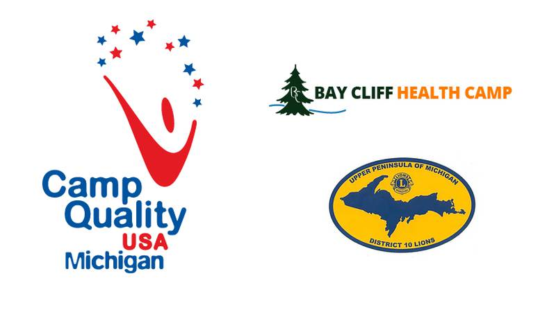 Camp Quality, Bay Cliff Health Camp and Upper Peninsula Lions logos