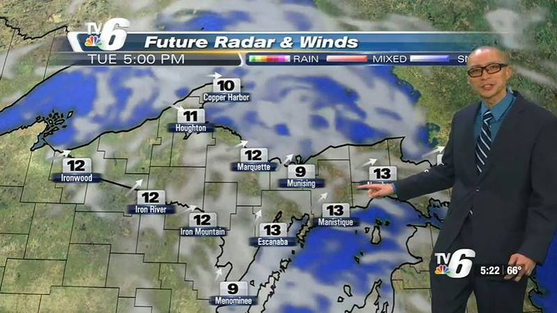Tuesday a.m. lows in the 30s-50s then warming up to the 60s-70 U.P.-wide in the afternoon under...