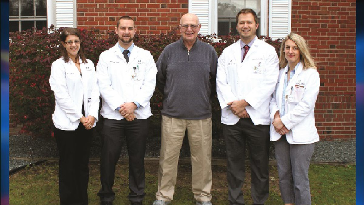 Retired physician and former Michigan State University College of Human Medicine – Upper Peninsula CEO and Community Assistant Dean Daniel Mazzuchi, MD, joins the class of 2018 Mazzuchi Scholarship recipients. From left: Angelea Heider, Chris Steele, Dr. Dan Mazzuchi, Dustin Collins, and Ashley Parent