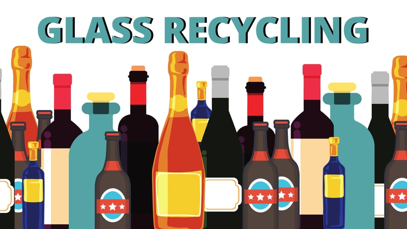 Glass recycling graphic.