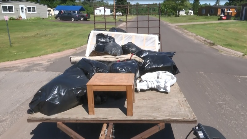 Trash taken to dumpsters, while shrubs and cut trees taken to White Pine Fire Department's...