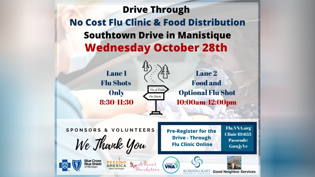 Manisitique food distribution and flu shot clinic flyer.